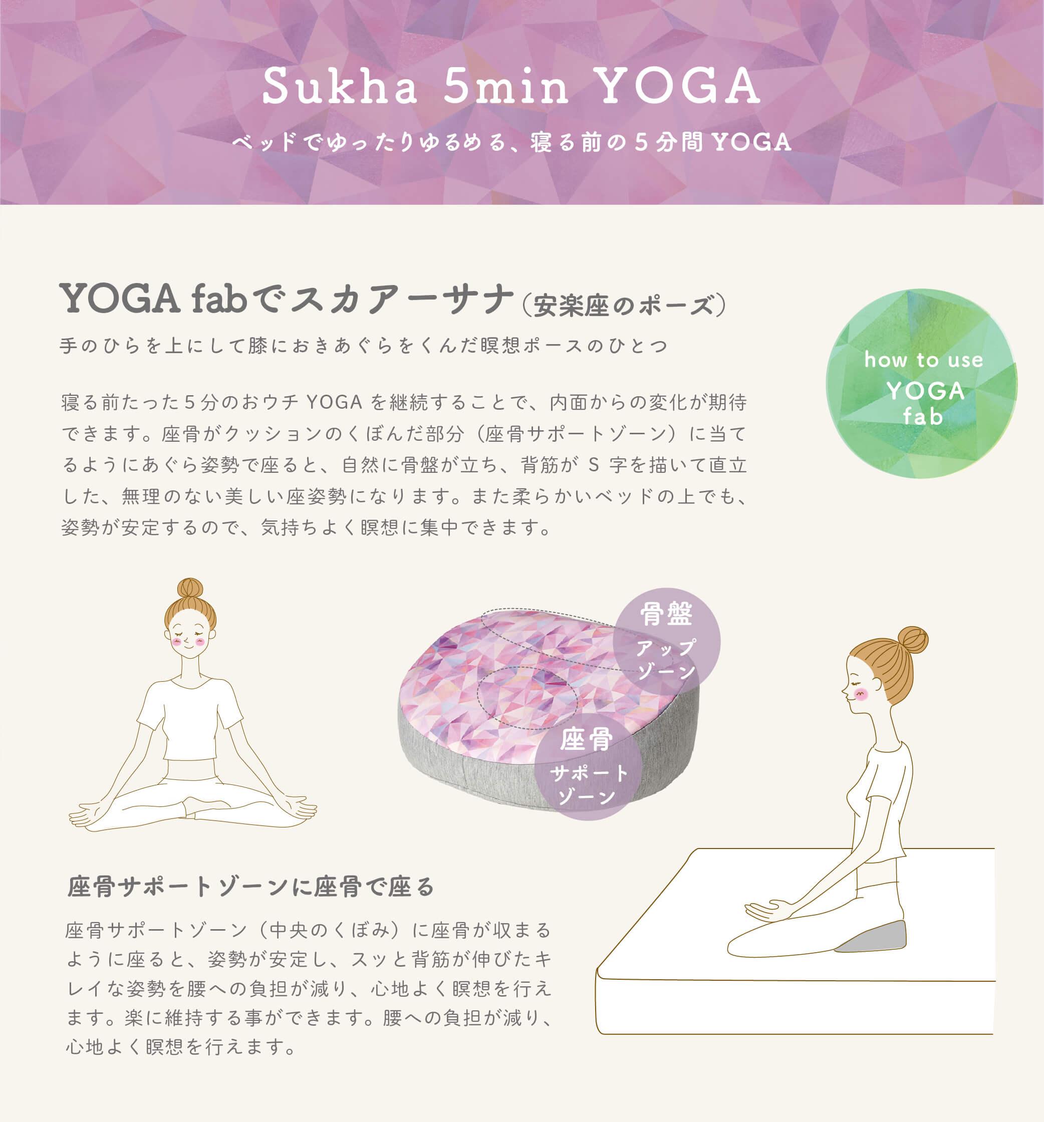 YOGA fab(ヨガファブ)は、ヨガインストラクターでヨガニードセラピストのRISA先生のアドバイスのもと、なかなかヨガのスペースが取れない狭い日本の住環境を考えて生まれた、ベッドの上で気軽に行える、おウチYOGAのための瞑想ポーズサポートクッションです。  寝る前にベッドの上で5分程度、ヨガの呼吸法や瞑想、軽いストレッチを行なって、心身がリラックスすることで、副交感神経が優位になって、日々の疲れが回復しやすくなると言われている深い眠りへと、自然に誘います。